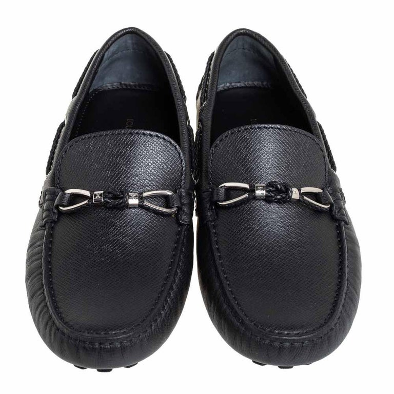 Louis Vuitton Black Leather Raspail Slip On Moccasins Size 41 In New Condition For Sale In Dubai, Al Qouz 2
