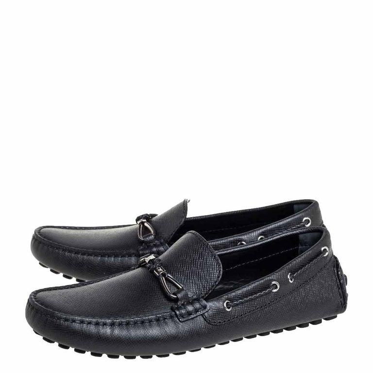 Men's Louis Vuitton Black Leather Raspail Slip On Moccasins Size 41 For Sale
