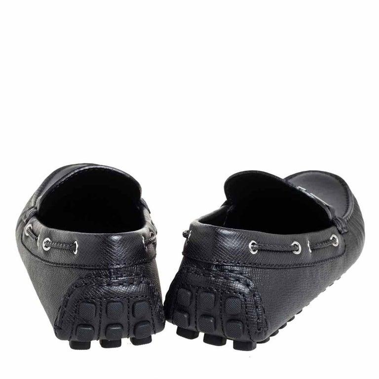 Louis Vuitton Black Leather Raspail Slip On Moccasins Size 41 For Sale 1