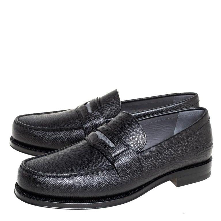 Men's Louis Vuitton Black Leather Sorbonne Slip On Loafers Size 41 For Sale