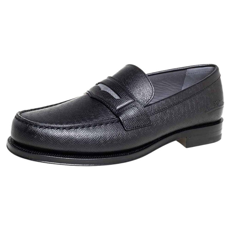 Louis Vuitton Black Leather Sorbonne Slip On Loafers Size 41 For Sale