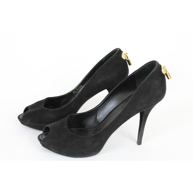 Women's Louis Vuitton Black Leather Suede Oh Really Heeled Shoes Peep-Poe Golden Padlock For Sale