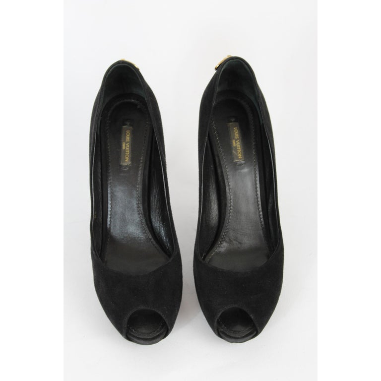 Louis Vuitton Black Leather Suede Oh Really Heeled Shoes Peep-Poe Golden Padlock For Sale 5