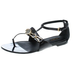 Louis Vuitton Black Leather Thong Ankle Strap Sandals Size 38.5