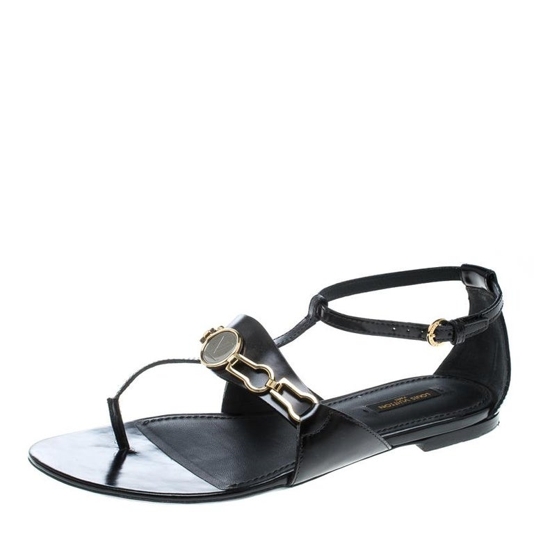 cff495e4707f Louis Vuitton Black Leather Thong Ankle Strap Sandals Size 38.5 For Sale