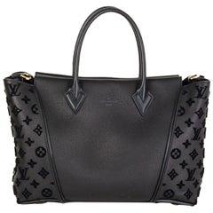 LOUIS VUITTON black leather TOTE W PM Bag Veau Cachemire