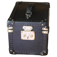 Louis Vuitton Black Leather Train Case,Louis Vuitton Jewelry Case,Vuitton Case