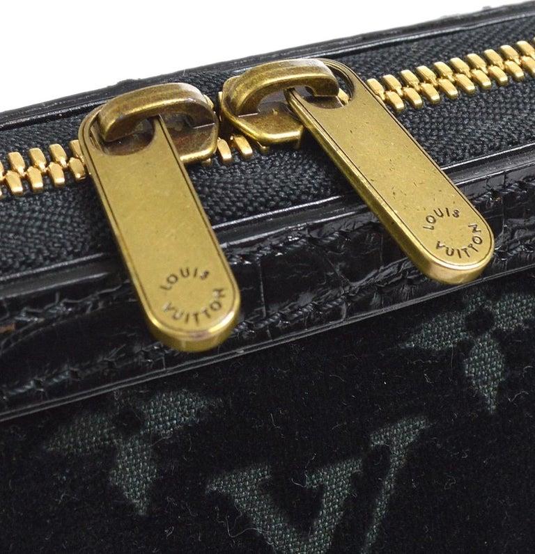 Louis Vuitton Black Leather Velvet Gold Chain Top Handle Satchel Shoulder Bag In Good Condition In Chicago, IL