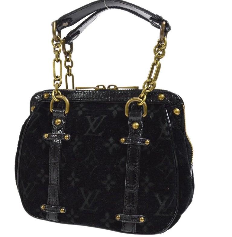 Women's Louis Vuitton Black Leather Velvet Gold Chain Top Handle Satchel Shoulder Bag