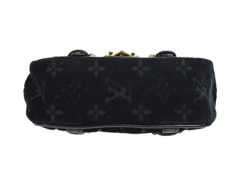 Louis Vuitton Black Leather Velvet Gold Chain Top Handle Satchel Shoulder Bag 1