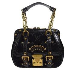 Louis Vuitton Black Leather Velvet Gold Chain Top Handle Satchel Shoulder Bag