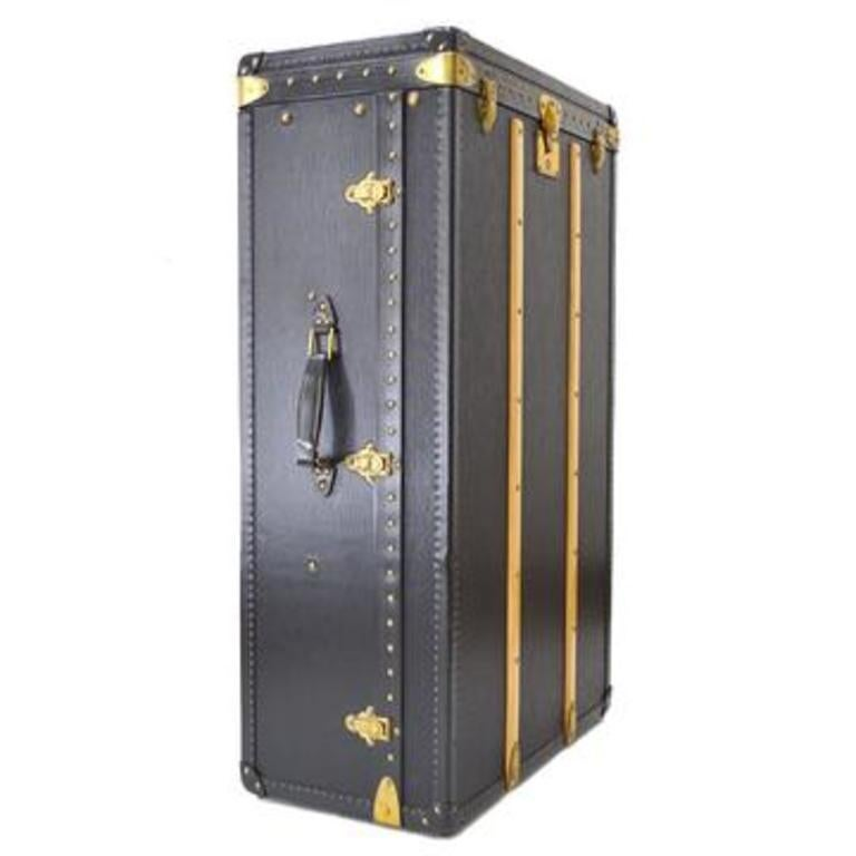 Louis Vuitton Black Leather Wood Travel Men's Women's Clothing Storage Trunk In Good Condition For Sale In Chicago, IL