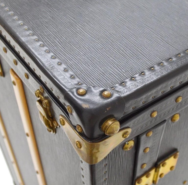 Louis Vuitton Black Leather Wood Travel Men's Women's Clothing Storage Trunk For Sale 1