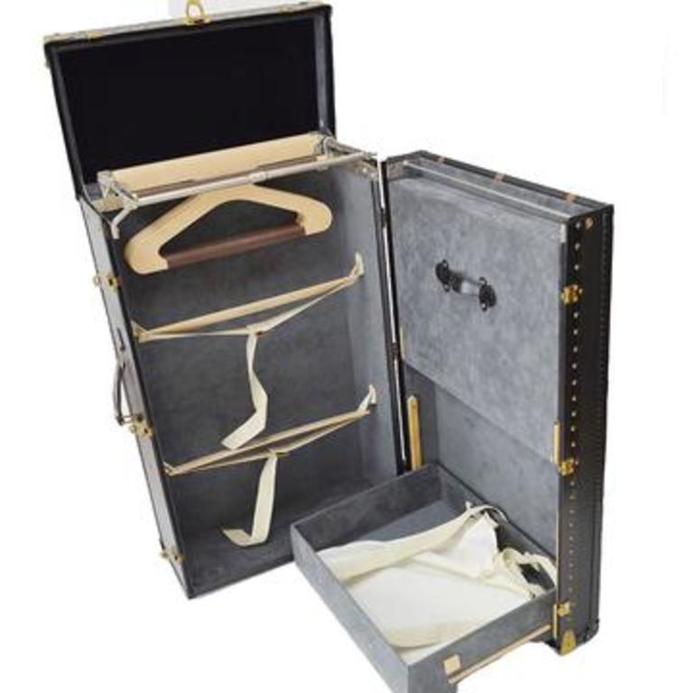 Louis Vuitton Black Leather Wood Travel Men's Women's Clothing Storage Trunk For Sale 2