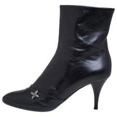 Louis Vuitton Black Leather Zipper Detail Booties Size 40