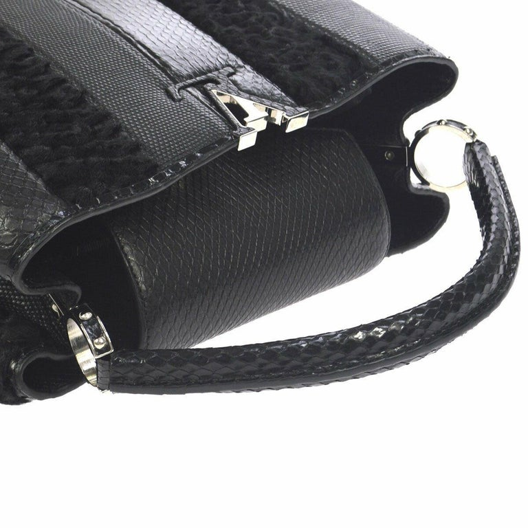 Louis Vuitton Black Lizard Crocodile Exotic Silver Top handle Satchel Bag in Box  Crocodile Lizard Leather Silver tone hardware Leather lining Date code present Made in France Handle drop 5
