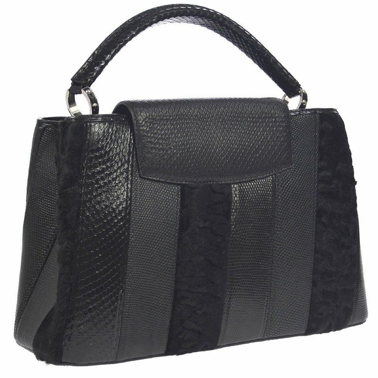 Louis Vuitton Black Lizard Crocodile Exotic Silver Top handle Satchel Bag in Box In Good Condition For Sale In Chicago, IL