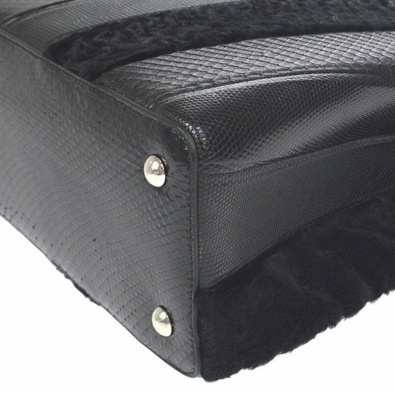 Women's Louis Vuitton Black Lizard Crocodile Exotic Silver Top handle Satchel Bag in Box For Sale