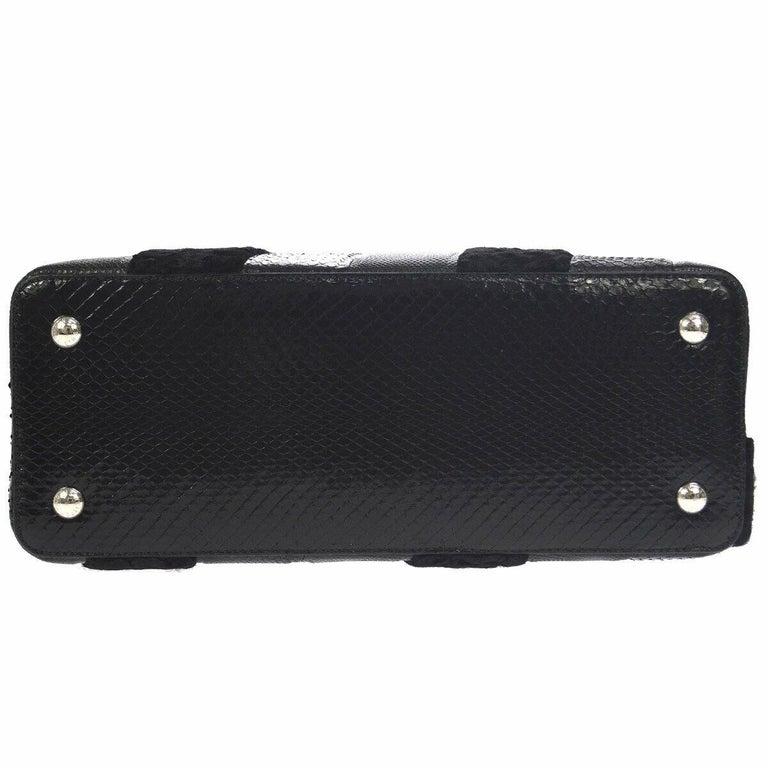 Louis Vuitton Black Lizard Crocodile Exotic Silver Top handle Satchel Bag in Box For Sale 1