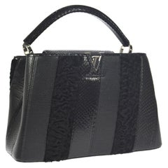 Louis Vuitton Black Lizard Crocodile Exotic Silver Top handle Satchel Bag in Box
