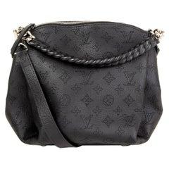 LOUIS VUITTON black Mahina leather BABYLONE CHAIN BB Shoulder Bag