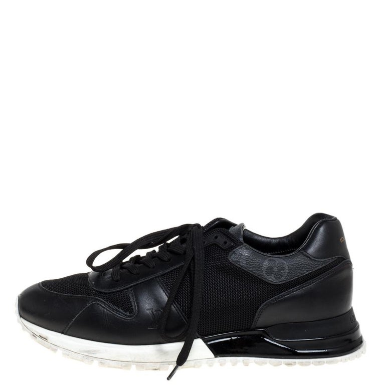 Made to provide comfort, these Run Away sneakers by Louis Vuitton are trendy and stylish. They've been crafted from leather, monogram coated canvas, mesh and designed with lace-up vamps, perforated details, and the label on the counters. Wear them