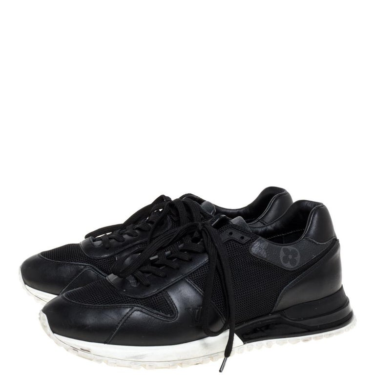 Louis Vuitton Black Mesh And Leather Monogram Canvas Lace Up Sneakers Size 39 For Sale 1