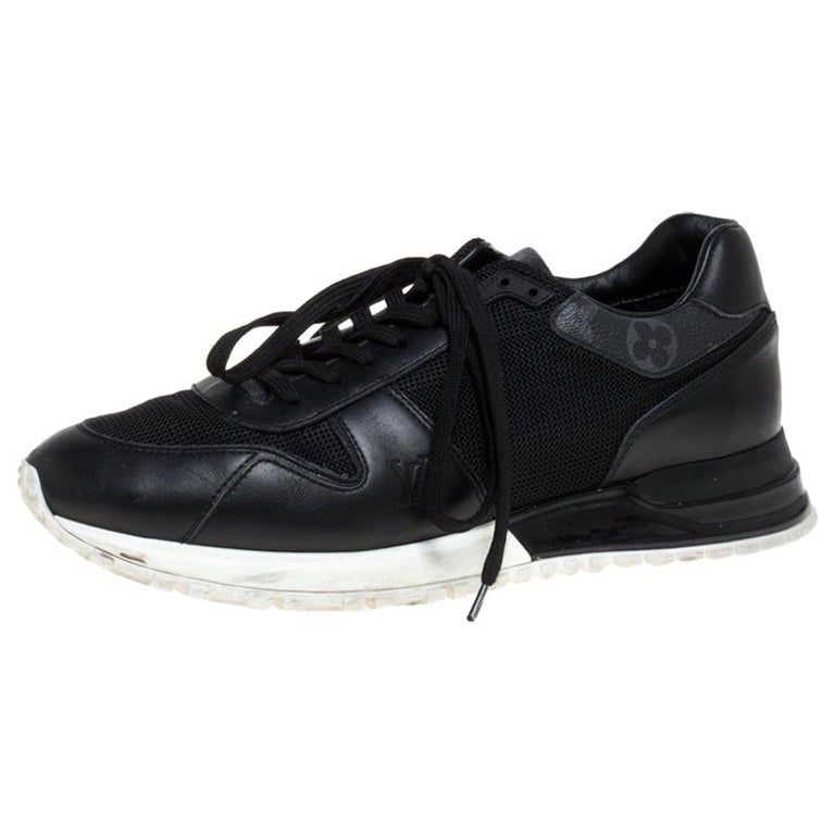 Louis Vuitton Black Mesh And Leather Monogram Canvas Lace Up Sneakers Size 39 For Sale