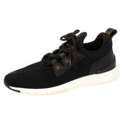 Louis Vuitton Black Mesh And Monogram Leather Sneakers Size 41