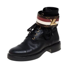 Louis Vuitton Black Monogram Canvas And Leather Wonderland Ranger Boots Size 36