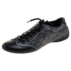 Louis Vuitton Black Monogram Denim and Leather Lace Tennis Sneakers Size 38.5