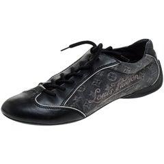 Louis Vuitton Black Monogram Denim and Leather Lace Tennis Sneakers Size 38.5