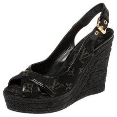 Louis Vuitton Black Monogram Denim Bastille Espadrille Wedge Sandals Size 37