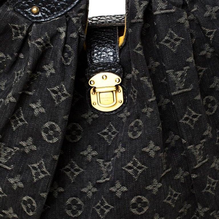 Louis Vuitton Black Monogram Denim Large Surya Hobo For Sale 6