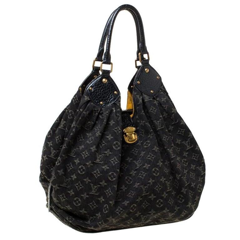Women's Louis Vuitton Black Monogram Denim Large Surya Hobo For Sale