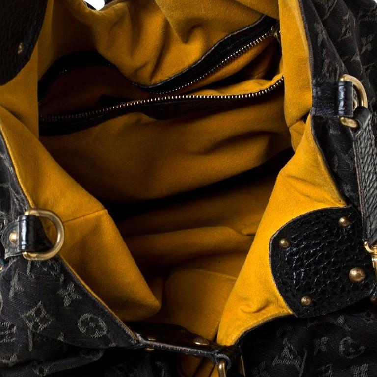 Louis Vuitton Black Monogram Denim Large Surya Hobo For Sale 3