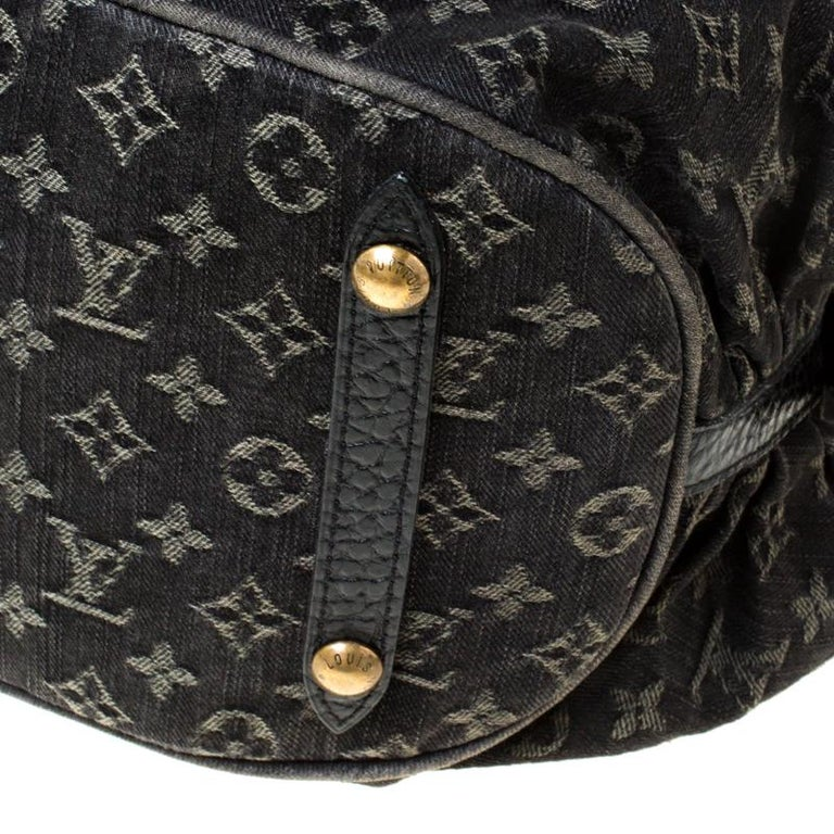 Louis Vuitton Black Monogram Denim Large Surya Hobo For Sale 4