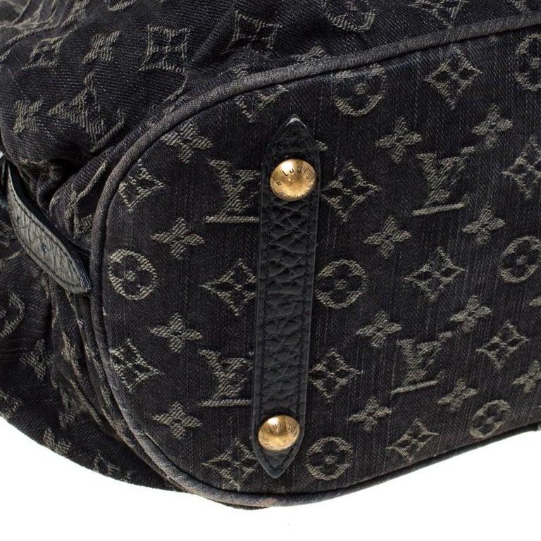 Louis Vuitton Black Monogram Denim Large Surya Hobo For Sale 5