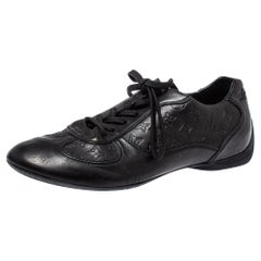 Louis Vuitton Black Monogram Embossed Leather Lace Up Sneakers Size 42