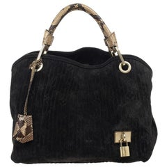 Louis Vuitton Black Monogram Embossed Suede Limited Edition Whisper PM