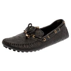 Louis Vuitton Black Monogram Empreinte Leather Gloria Loafers Size 39