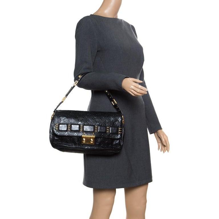 Louis Vuitton Black Monogram Empreinte Leather Rubel Shoulder Bag In Good Condition For Sale In Dubai, Al Qouz 2
