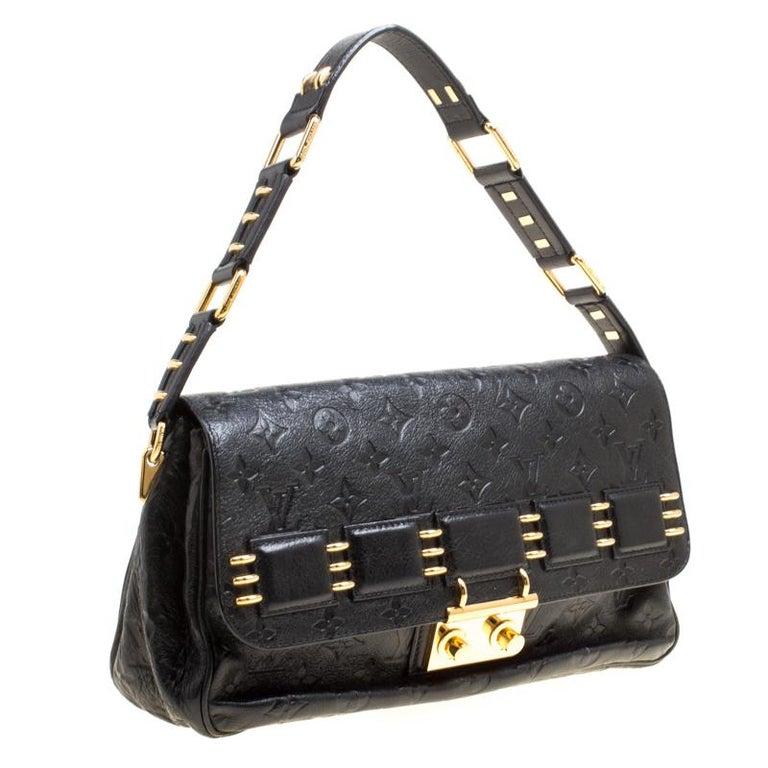 Women's Louis Vuitton Black Monogram Empreinte Leather Rubel Shoulder Bag For Sale