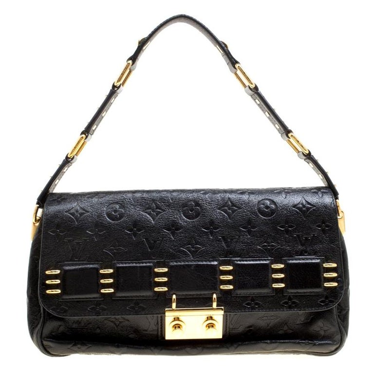 Louis Vuitton Black Monogram Empreinte Leather Rubel Shoulder Bag For Sale