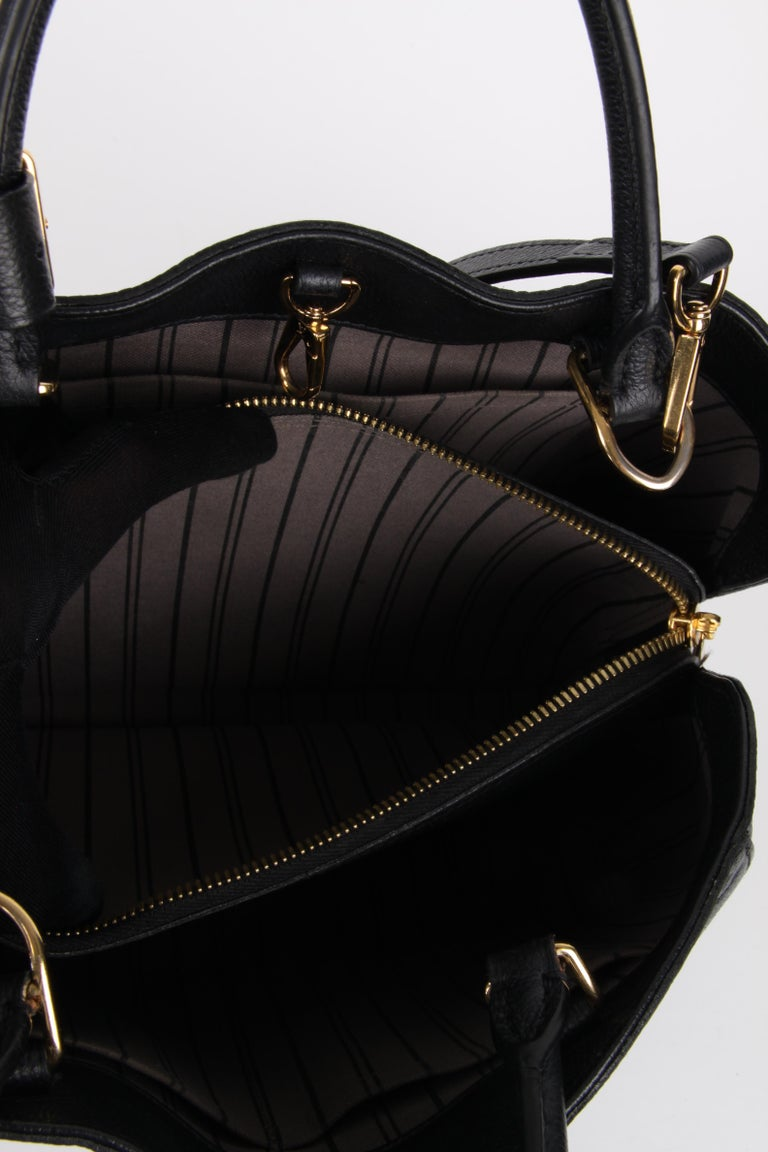 Louis Vuitton Black Monogram Empreinte Montaigne MM Handbag For Sale 6