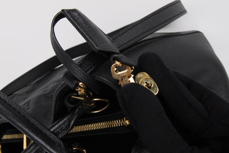 Louis Vuitton Black Monogram Empreinte Montaigne MM Handbag For Sale 2