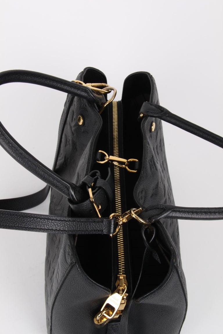 Louis Vuitton Black Monogram Empreinte Montaigne MM Handbag For Sale 3