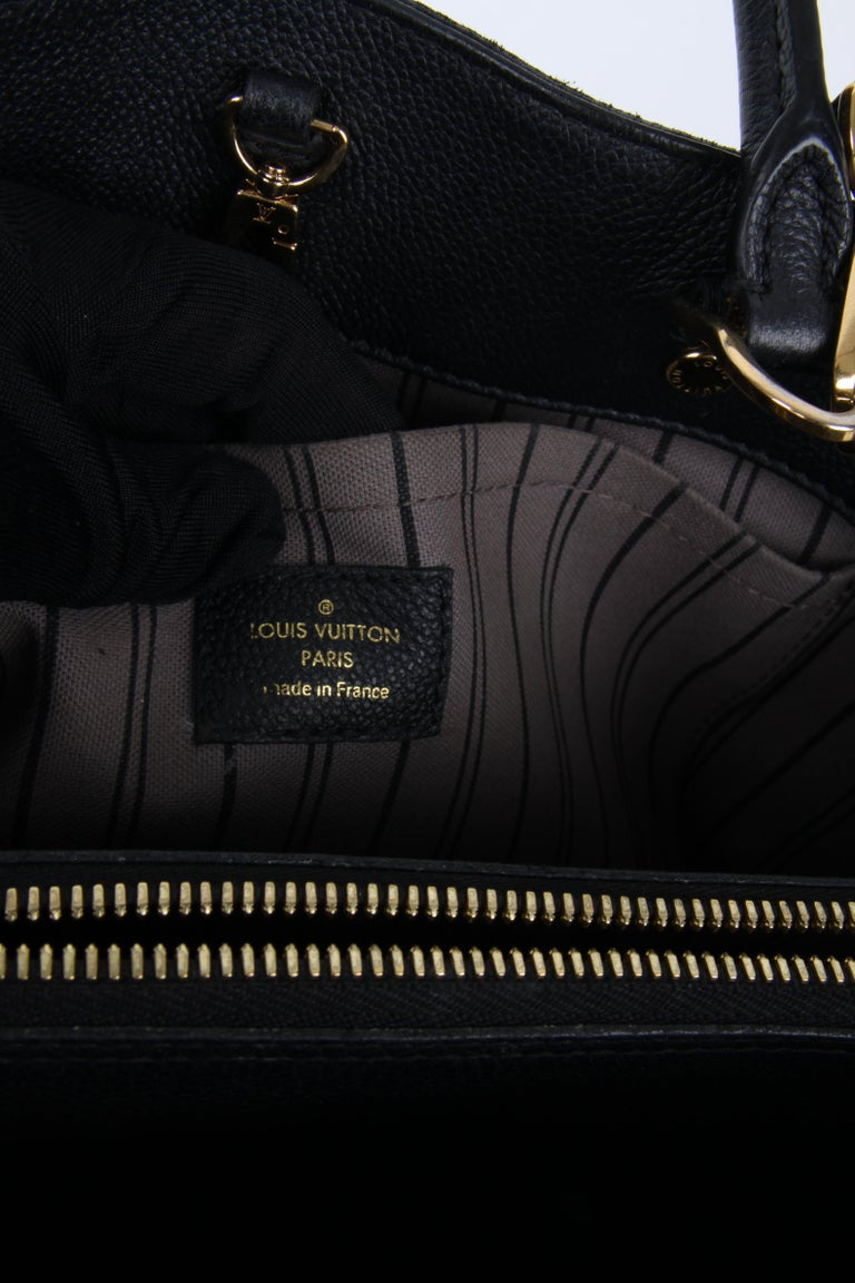 Louis Vuitton Black Monogram Empreinte Montaigne MM Handbag For Sale 5
