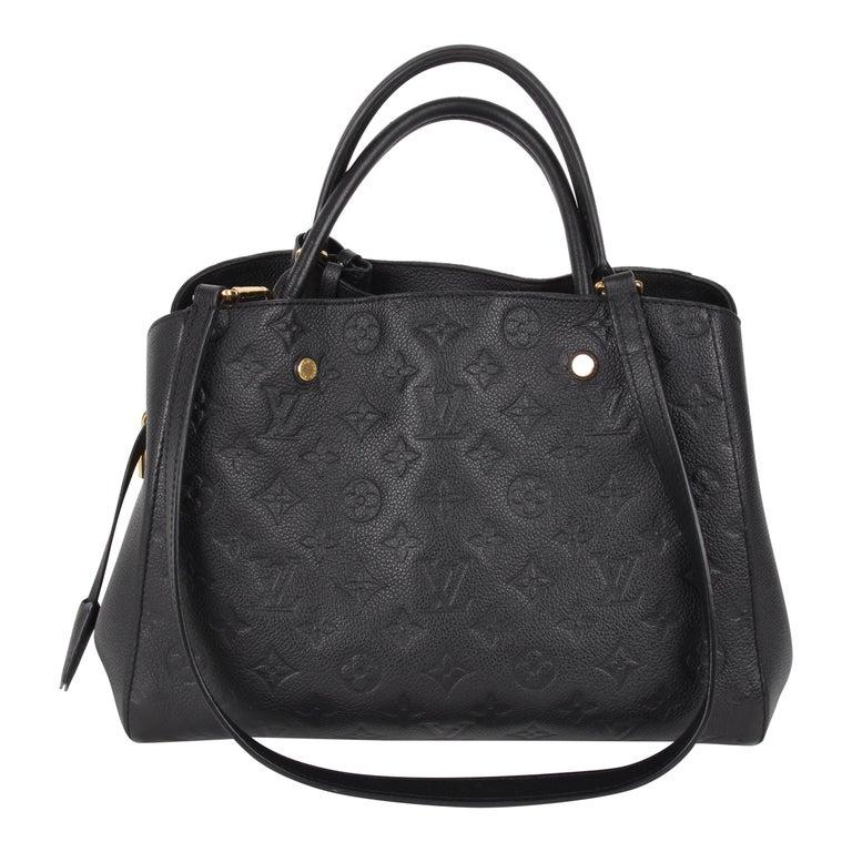 Louis Vuitton Black Monogram Empreinte Montaigne MM Handbag For Sale