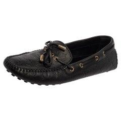 Louis Vuitton Black Monogram Leather Gloria Loafers Size 38